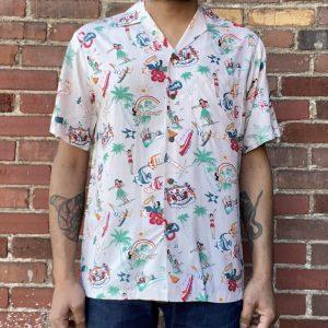 Two Palms Vintage Icons Aloha Shirt Taupe