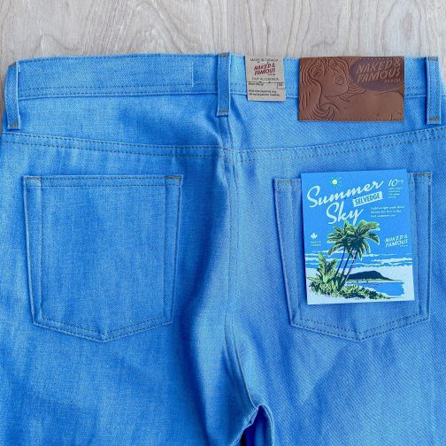 Summer Sky Selvedge by Naked and Famous Denim. Back top block view.