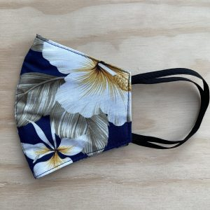 Two Palms Hibiscus Navy Face Mask