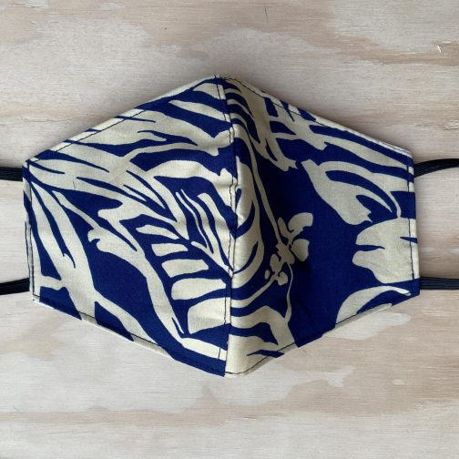 Two Palms Kona Navy Face Mask. Full View.
