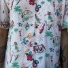Two Palms Vintage Icons Aloha Shirt Taupe. Close-up View.