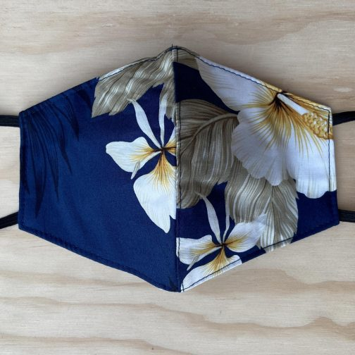 Two Palms Hibiscus Navy Face Mask. Full View.