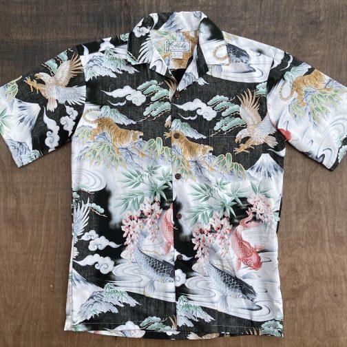 Aloha Made in Hawaii Eagles Tigers Aloha Shirt. Flat View.
