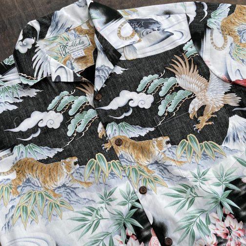 Aloha Made in Hawaii Eagles Tigers Aloha Shirt. Flat View Close Up.