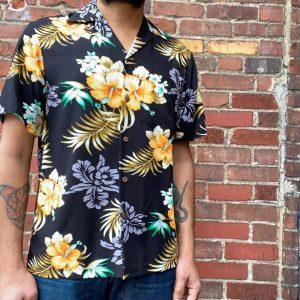 Two Palms Fern Hibiscus Aloha Shirt Black