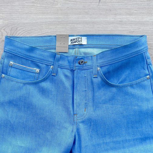 Summer Sky Selvedge by Naked and Famous Denim. Front top block view.