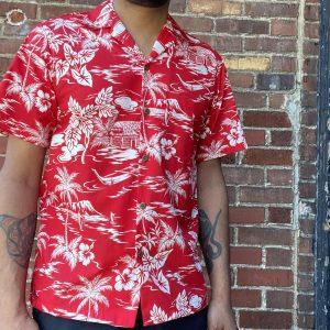 Two Palms Love Shack Aloha Shirt Red