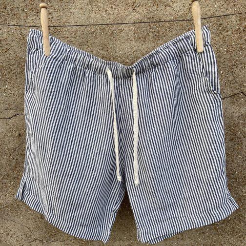 Alex Crane Bo Lines Linen Shorts