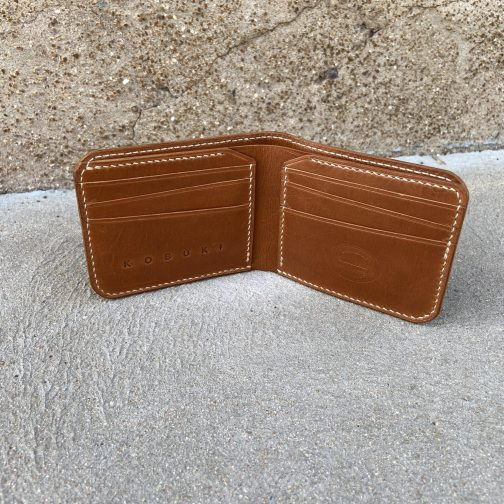 Front Pocket Billfold Tan. Open View.
