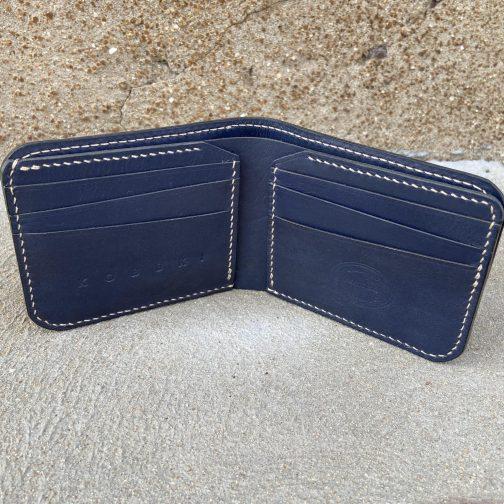 Front Pocket Billfold Indigo. Open View.