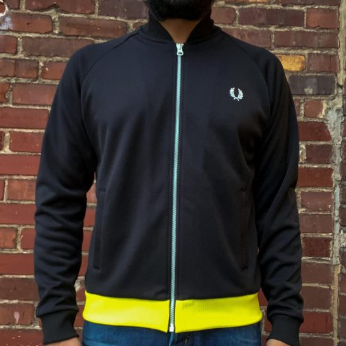 Fred Perry Luminous Track Jacket J1831 Black. Worn View.