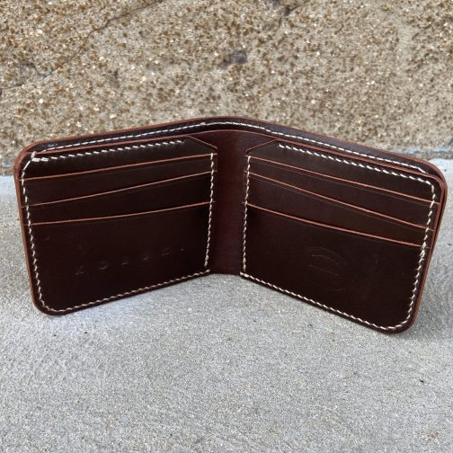 Front Pocket Billfold Brown. Open View.