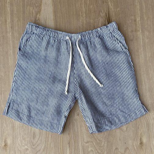 Alex Crane Bo Lines Linen Shorts. Front View.
