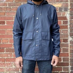 Rains Blue Short Hooded Jacket
